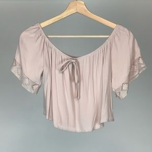 Forever 21 Pink Off the Shoulder Crop Top Small
